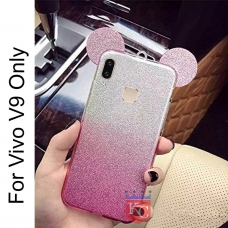 Cute Ears Gradient Glitter 2 in 1 Transparent Soft Back Cover for Vivo V9 - Pink